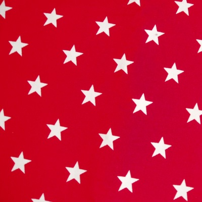Dog Bandana Fabric in Red with White Star Design