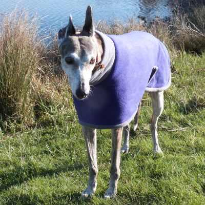 greyhound fleece coat in purple with charcoal trim